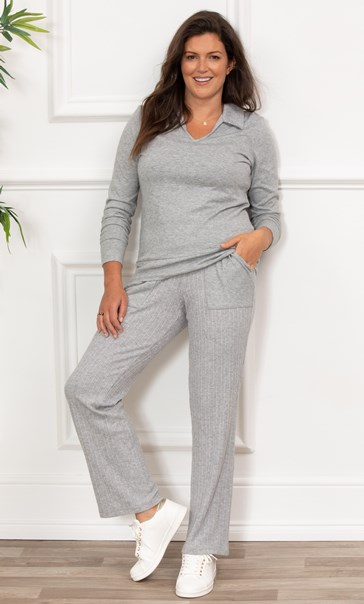 Soft Knitted Collared Top - Grey