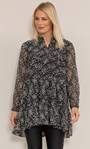Dainty Floral Printed Crinkle Chiffon Tunic Black/Pink - Gallery Image 3