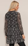 Dainty Floral Printed Crinkle Chiffon Tunic Black/Pink - Gallery Image 4