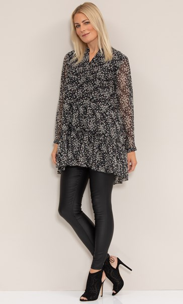 Dainty Floral Printed Crinkle Chiffon Tunic Black/Pink