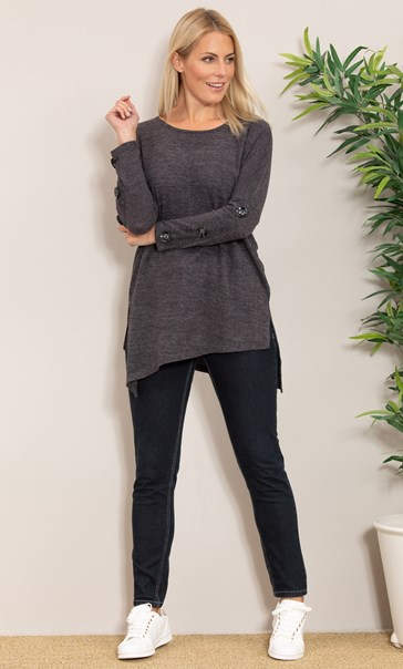 Oversized Knitted Tunic Charcoal Marl