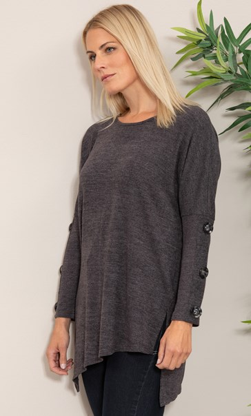 Oversized Knitted Tunic - Charcoal Marl