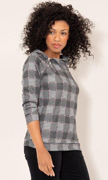 Check Knitted Top Grey/Pink
