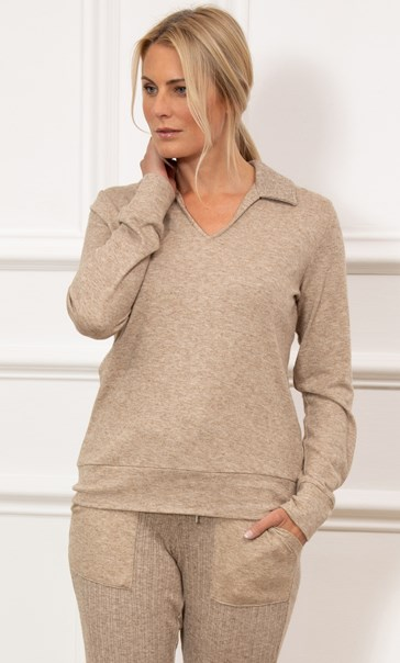 Soft Knitted Collared Top - Tan