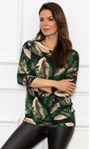 Leaf Printed Jersey Tunic Black/Kingfisher - Gallery Image 2