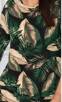 Leaf Printed Jersey Tunic Black/Kingfisher - Gallery Image 4