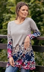 Floral Border Print Knitted Tunic Grey/Multi - Gallery Image 1