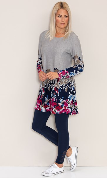 Floral Border Print Knitted Tunic