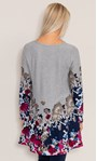 Floral Border Print Knitted Tunic Grey/Multi - Gallery Image 4