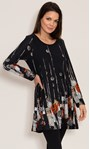 Abstract Border Print Knitted Tunic Black/Orange - Gallery Image 2