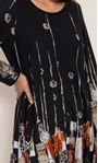 Abstract Border Print Knitted Tunic Black/Orange - Gallery Image 4