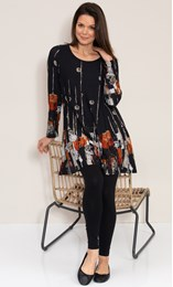 Abstract Border Print Knitted Tunic