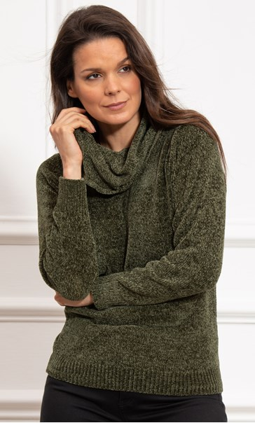 Cowl Neck Long Sleeve Chenille Top Moss
