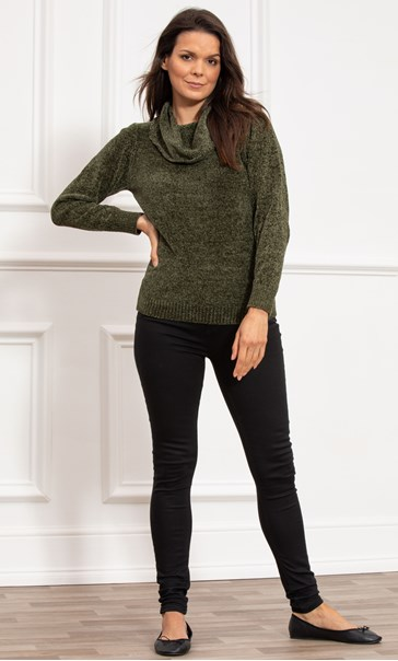 Cowl Neck Long Sleeve Chenille Top - Moss