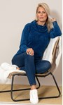 Cowl Neck Long Sleeve Chenille Top Blue - Gallery Image 1
