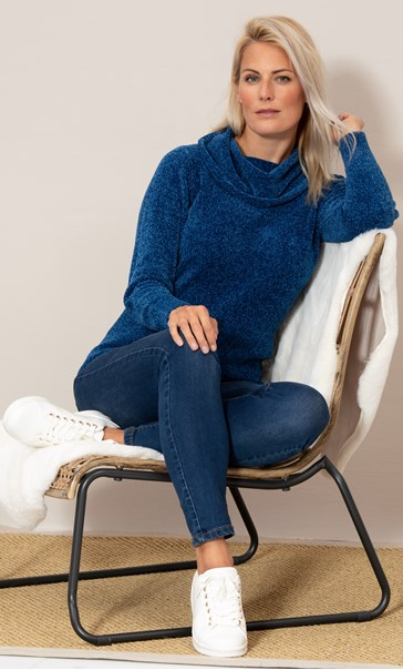 Cowl Neck Long Sleeve Chenille Top Blue