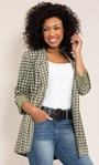 Open Front Suedette Dogtooth Jacket Khaki/Sage - Gallery Image 1