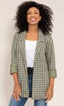 Open Front Suedette Dogtooth Jacket Khaki/Sage - Gallery Image 4