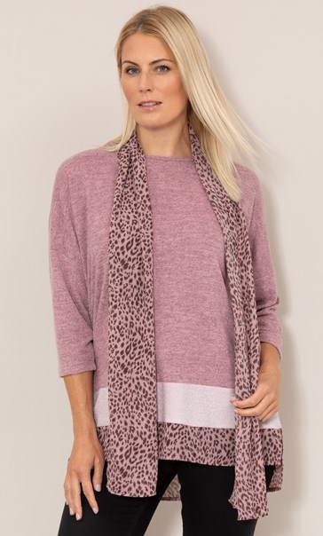 Oversized Knit Tunic With Georgette Scarf - Pinks