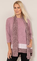 Oversized Knit Tunic With Georgette Scarf