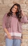 Oversized Knit Tunic With Georgette Scarf Pinks - Gallery Image 3