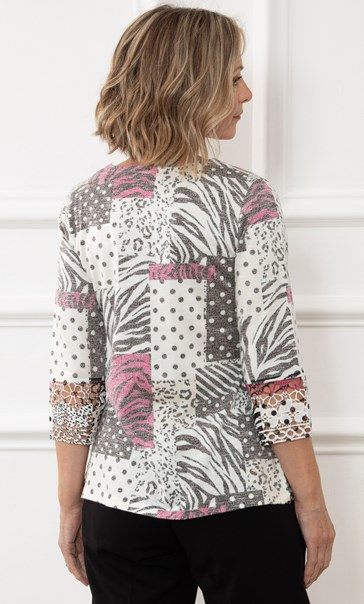 Anna Rose Embellished Printed Lace Trim Knit Top