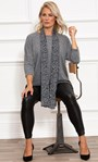Oversized Knit Tunic With Georgette Scarf Greys - Gallery Image 1