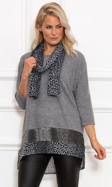 Oversized Knit Tunic With Georgette Scarf - Greys