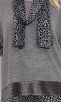Oversized Knit Tunic With Georgette Scarf Greys - Gallery Image 5