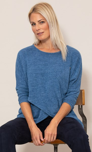 Oversized Cross Over Knitted Tunic Blue