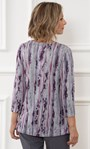 Anna Rose Printed Lace Trim Knit Top Grey/Pink - Gallery Image 2
