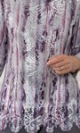 Anna Rose Printed Lace Trim Knit Top Grey/Pink - Gallery Image 3