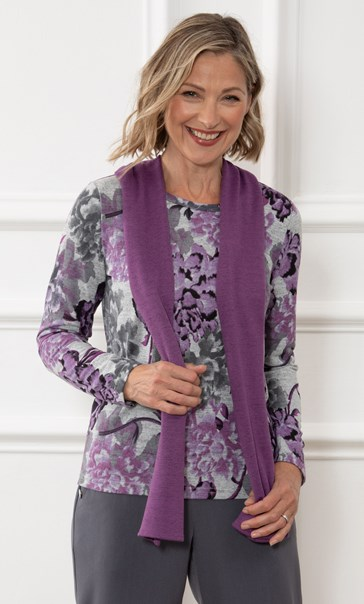 Anna Rose Brushed Top With Scarf