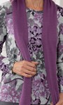 Anna Rose Brushed Top With Scarf Grey/Purple - Gallery Image 3