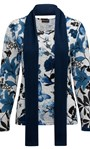Anna Rose Brushed Top With Scarf Black/Grey/Blue - Gallery Image 5