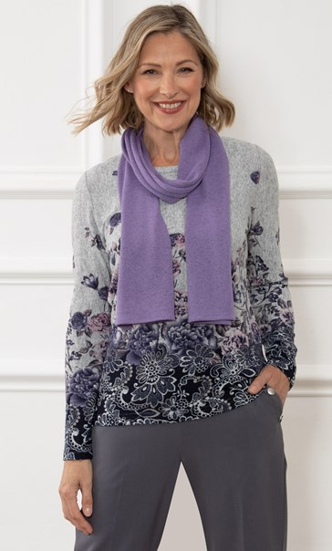 Anna Rose Printed Brushed Top With Scarf