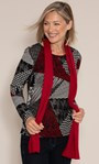 Anna Rose Printed Brushed Top With Scarf Black/Red - Gallery Image 1