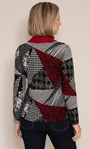 Anna Rose Printed Brushed Top With Scarf Black/Red - Gallery Image 2