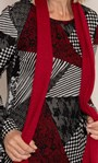 Anna Rose Printed Brushed Top With Scarf Black/Red - Gallery Image 4