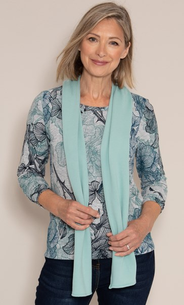 Anna Rose Printed Brushed Top With Scarf Grey/Aqua