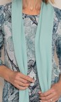 Anna Rose Printed Brushed Top With Scarf Grey/Aqua - Gallery Image 4