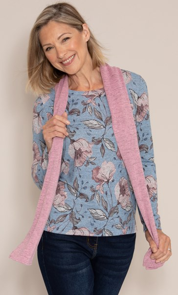 Anna Rose Printed Top With Scarf Steel Blue/Multi