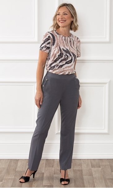Anna Rose Straight Leg Trousers 29 inch - Mid Grey