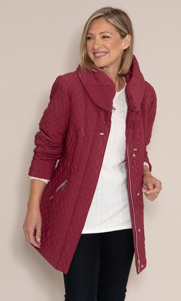 Anna Rose Quilted High Neck Coat