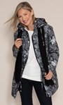Anna Rose Print Coat With Scarf Black Floral - Gallery Image 1