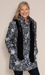 Anna Rose Print Coat With Scarf Black Floral - Gallery Image 2