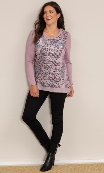 Embellished Animal Print Knitted Top Pinks