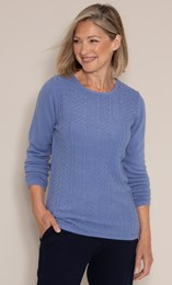 Anna Rose Embellished Cable Knit Top