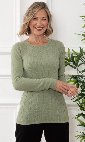 Anna Rose Embellished Cable Knit Top - Soft Khaki