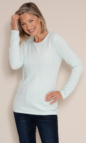 Anna Rose Embellished Cable Knit Top - Mint